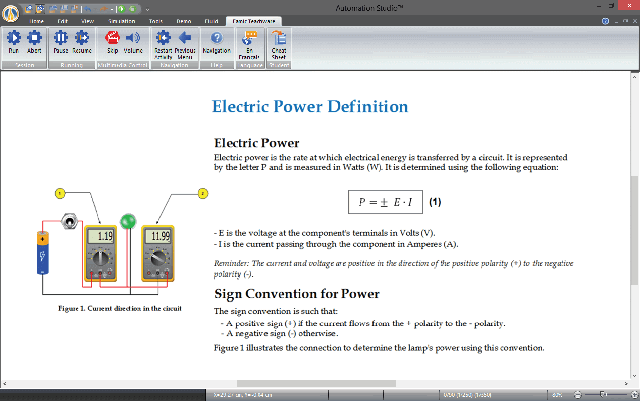 PLC instructions simulated with Automation Studio Professional Edition software