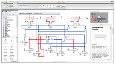 pneumatic schematic simulated in Automation Studio