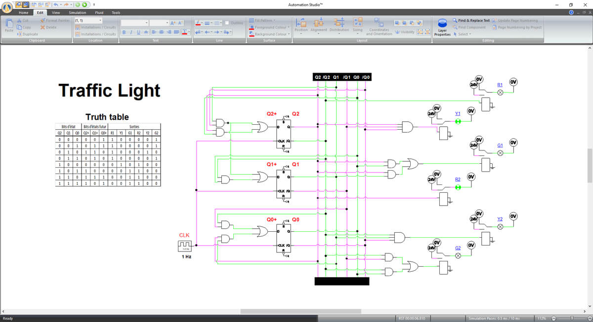 digital electronics schematic simulated in Automation Studio software