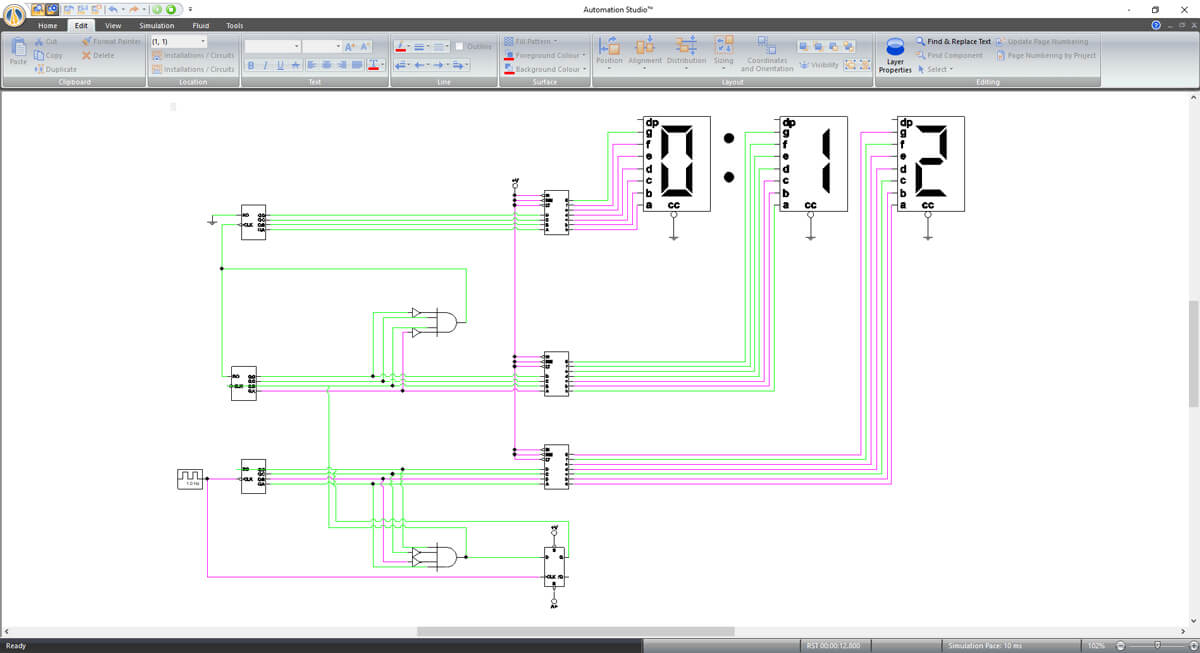 digital electronics control in automation studio software