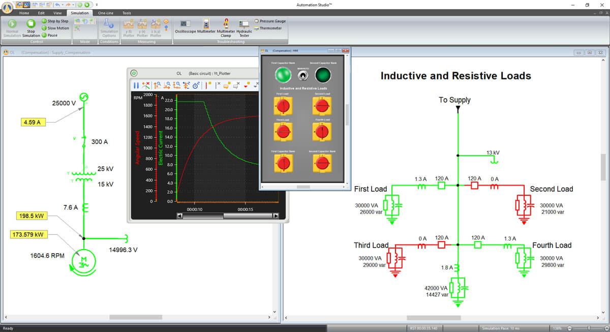 electrical circuit simulation using Automation Studio software