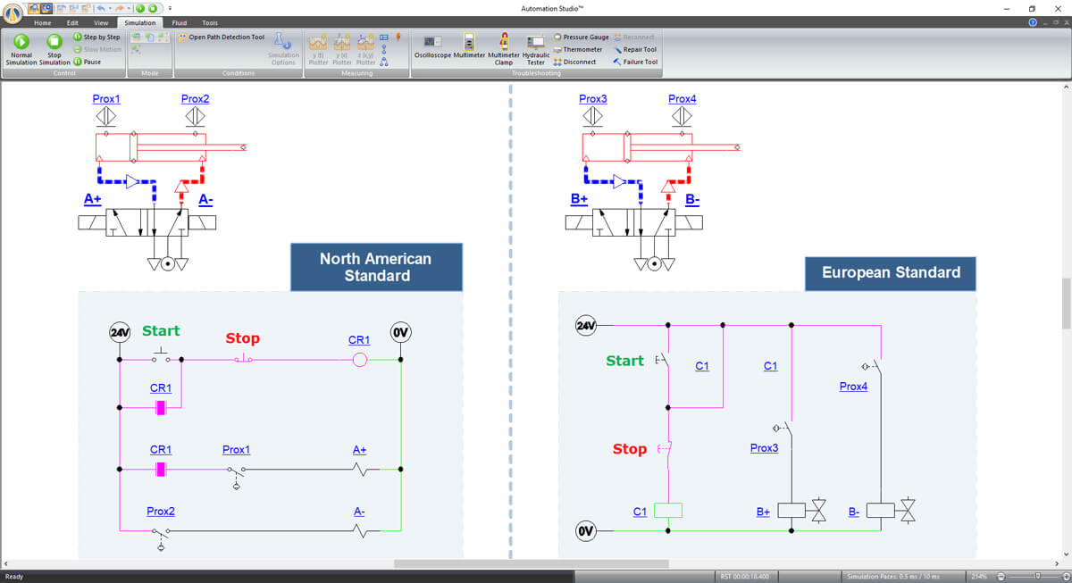 electrical controls in Automation Studio software