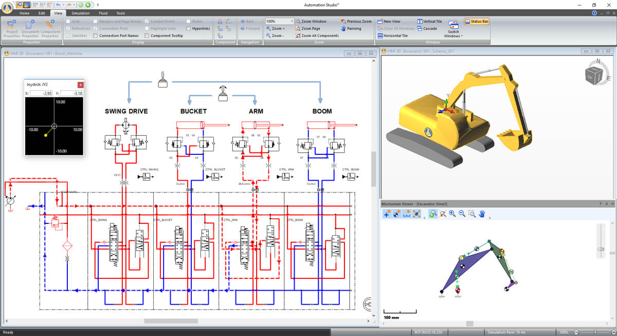 hydraulic circuit simulating a digital twin of an excavator in Automation Studio