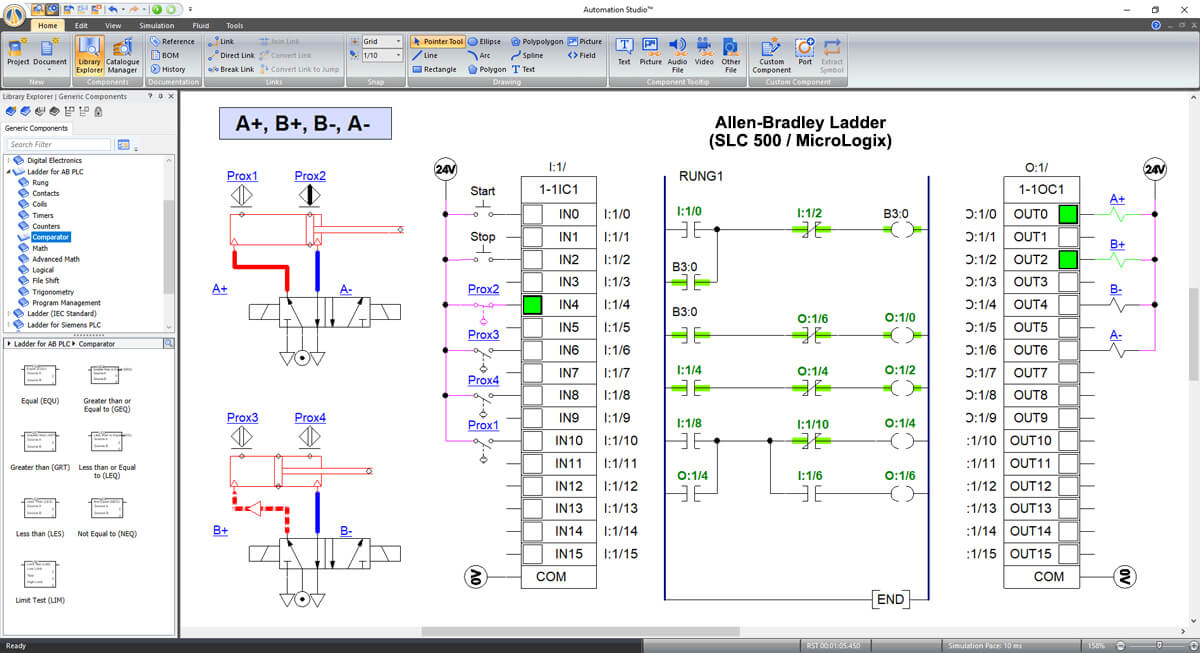 programable logic controller simulation in Automation Studio software