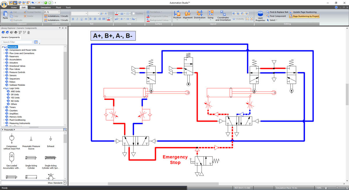 pneumatic circuit simulation in Automation Studio software
