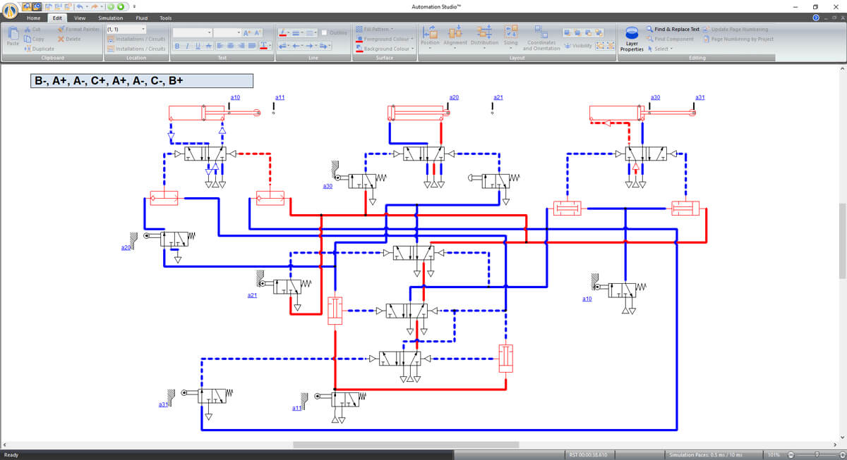 pneumatics simulation with Automation Studio software