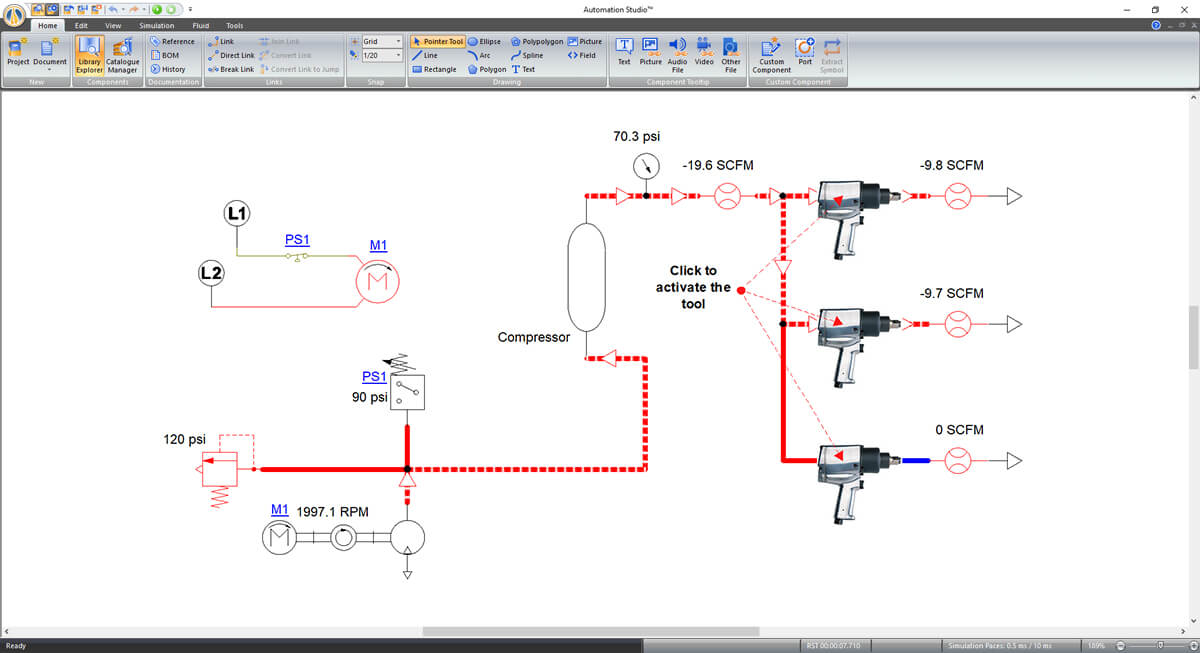 fluid power circuit simulated in Automation Studio software