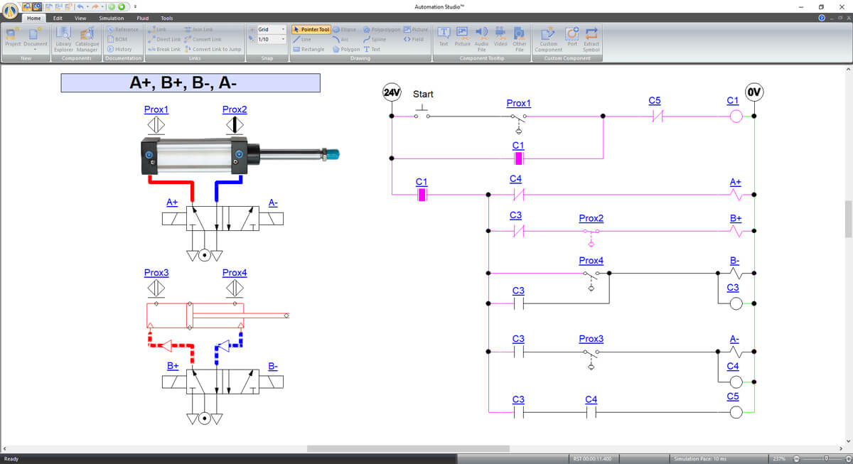 penumatic piston simulation with automation sutdio software