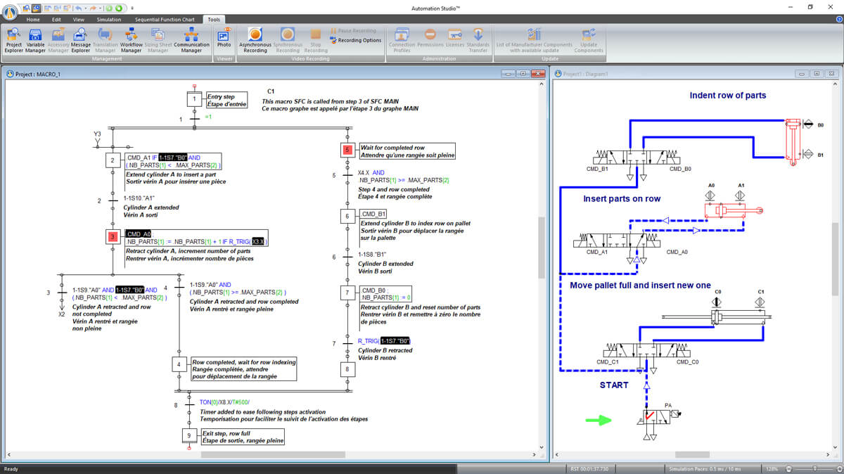 SFC GRAFCET instructions controlling pneumatic circuit simulated with Automation Studio Professional Edition software