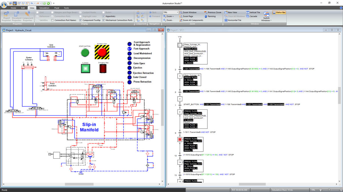 SFC GRAFCET instructions controlling hydraulic circuit simulated with Automation Studio Professional Edition software