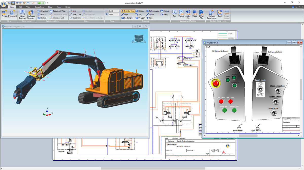 3D excavator and control panel simulation with Automation Studio Professional Edition software