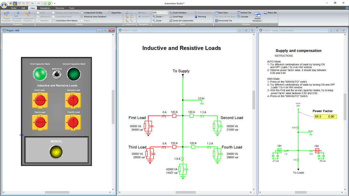 One-line Electrical circuit with control panel simulation using Automation Studio Professional Edition software