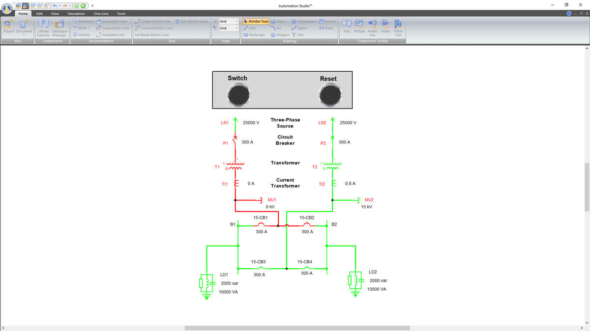 One-line Electrical circuit simulation with Automation Studio Professional Edition software