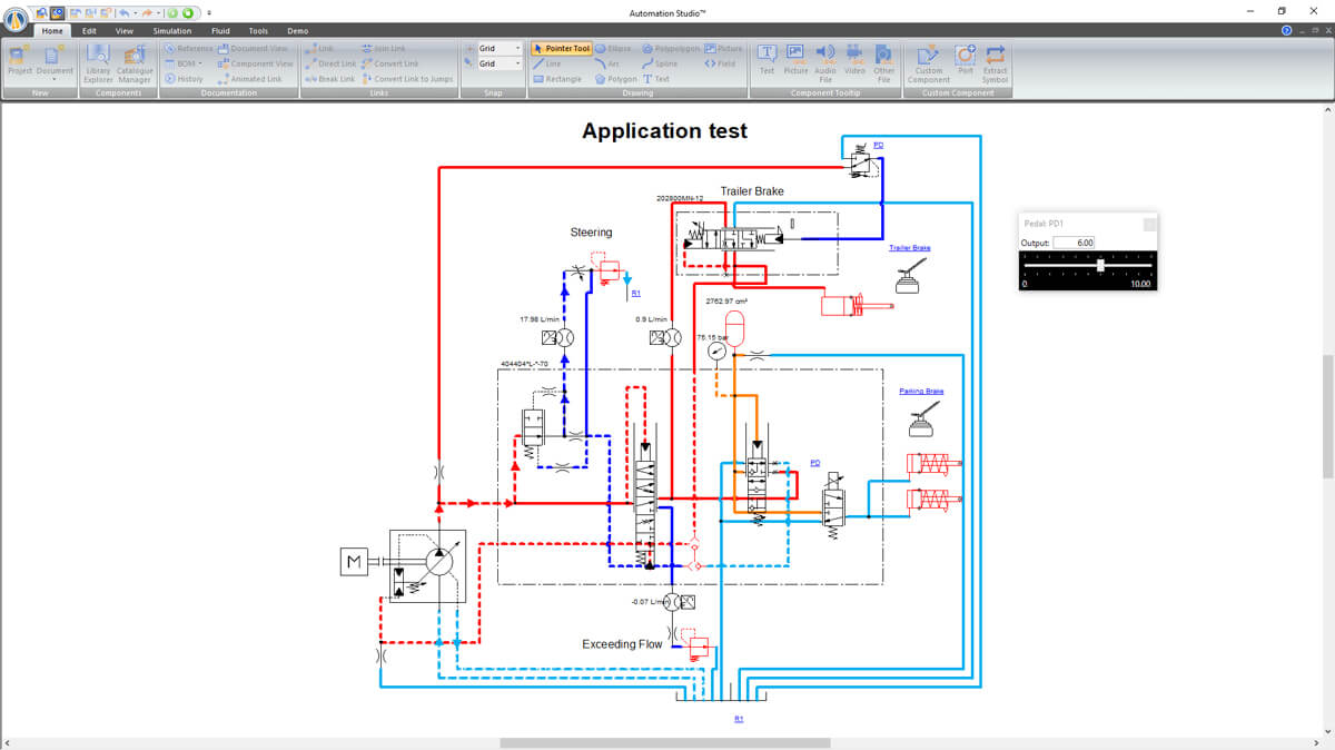 Hydraulic circuit simulated with Automation Studio Professional Edition software