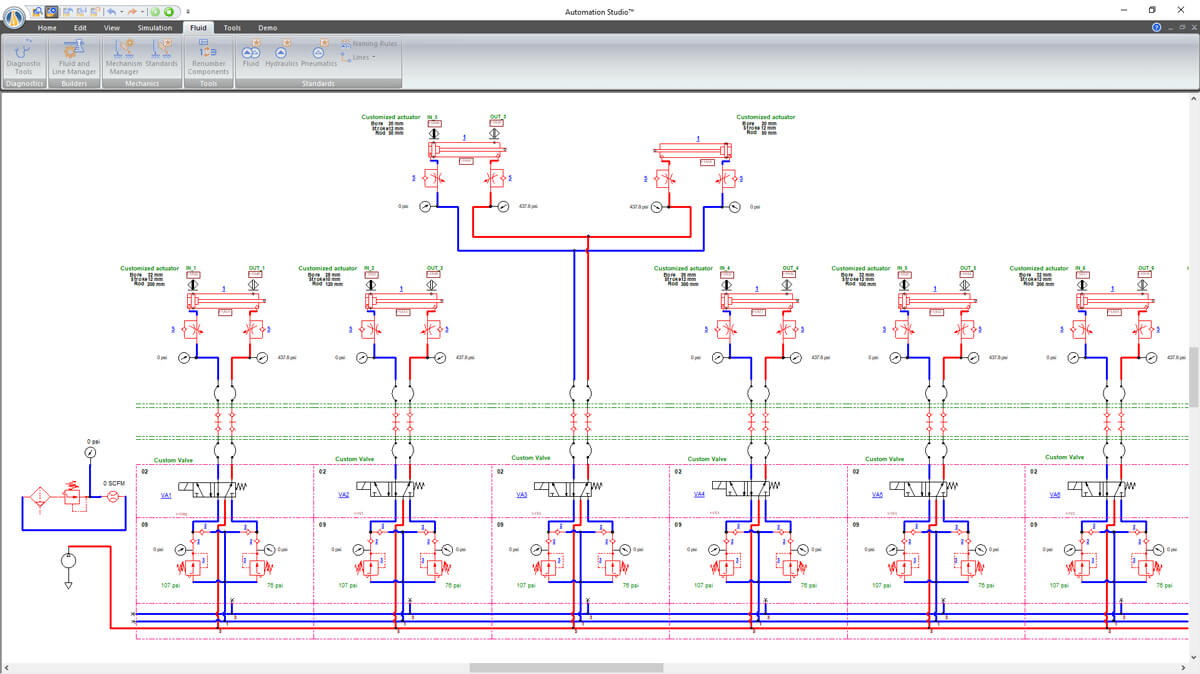 Pneumatic circuit simulated with Automation Studio Professional Edition software