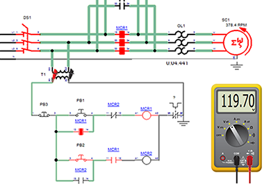 Electrical circuit simulated with Automation Studio Educational Edition