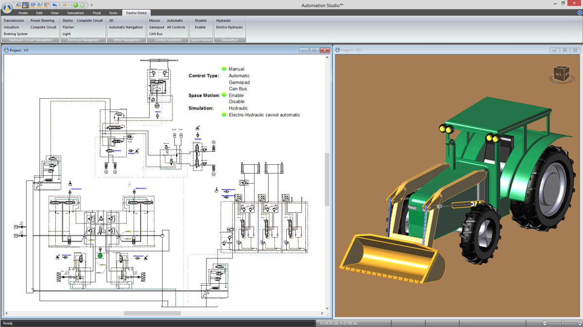 simulation of hydraulic mobile machine with Automation Studio software