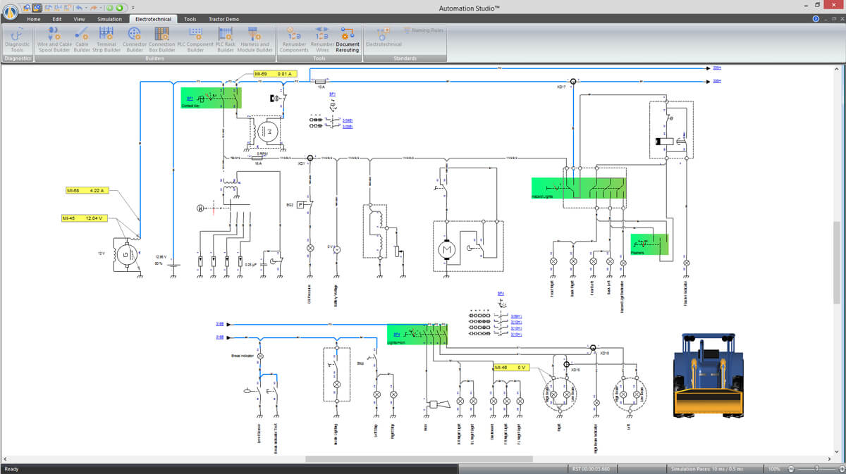 simulated schematic of agricultural machinery with Automation Studio software