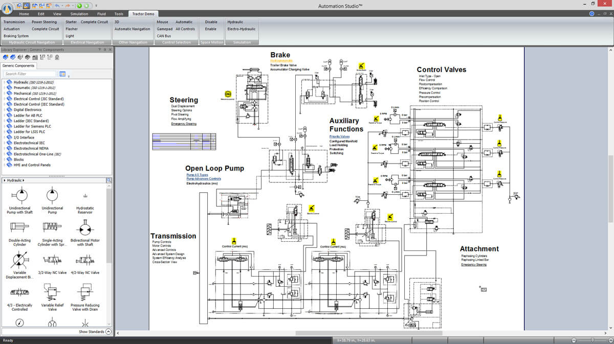 hydraulic circuit of a construction machinery simulated with Automation Studio software
