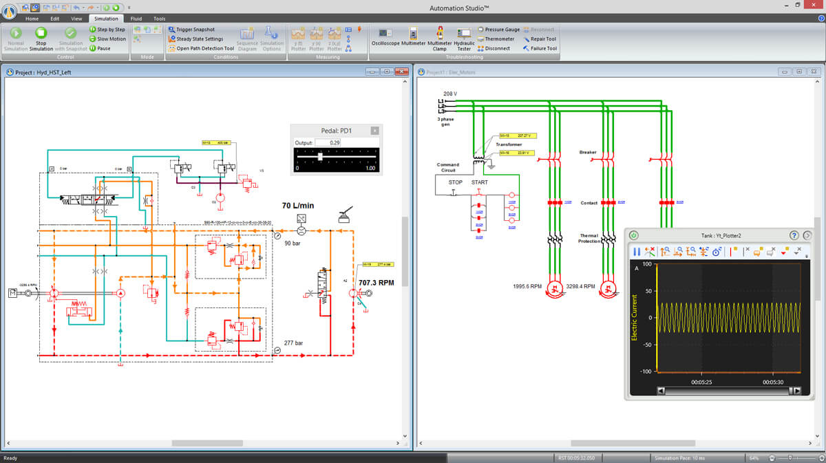 electrical and hydraulic simulation of a mobile machine using Automation Studio software