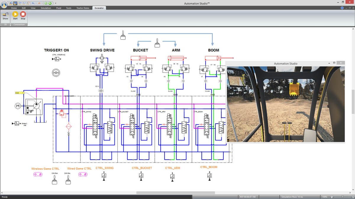 digital twin of an excavator using Automation Studio software