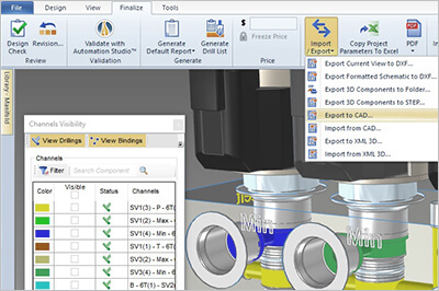 Importieren Exportieren in Automation Studio Live Manifold-Software
