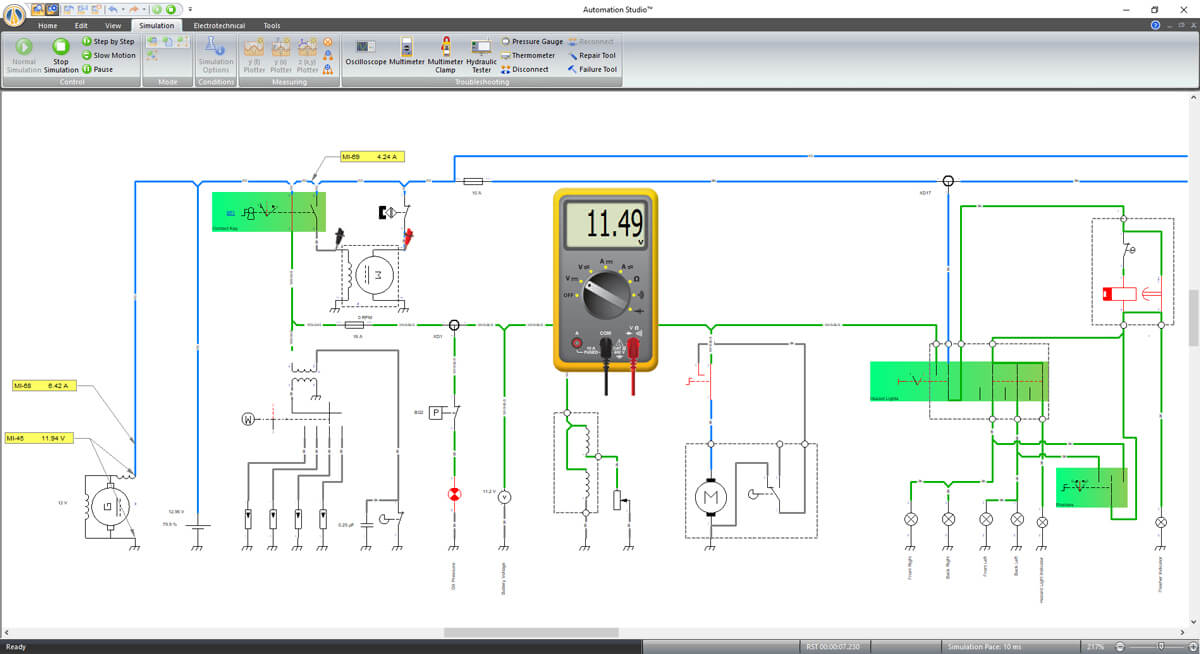 electrical schematic simulation using Automation Studio software