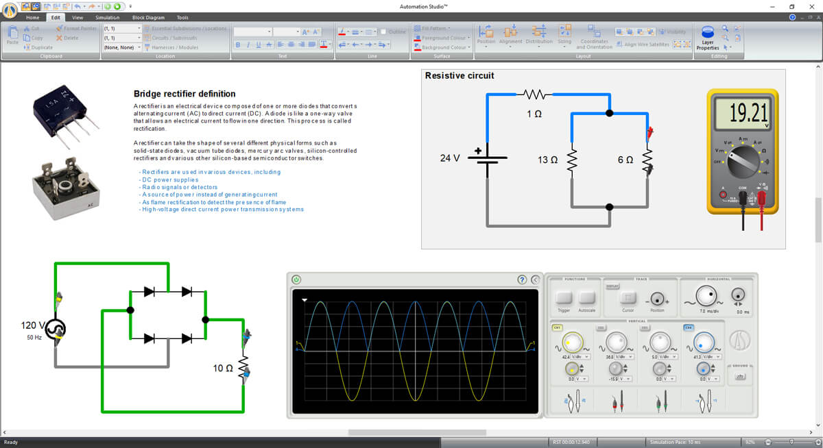 electrical circuit with oscilloscope simulated in Automation Studio software