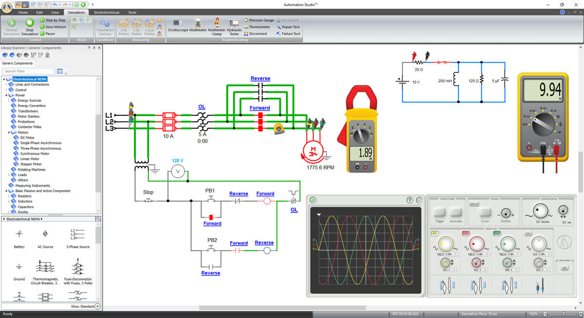 Electrical circuit simulation with multimeter in Automation Studio software