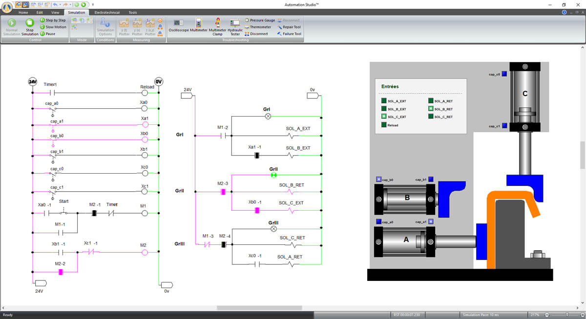 virtual system simulated with Automation Studio software