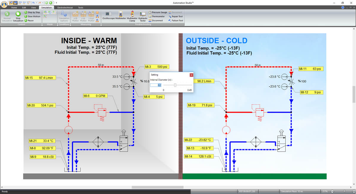 thermal simulation of hydraulic system using Automation Studio software