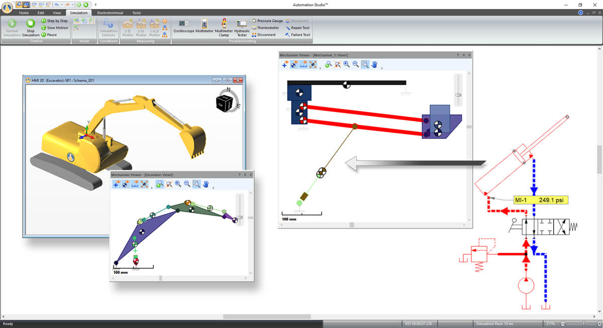 excavator bucket hydraulic system simulation with Automation Studio software