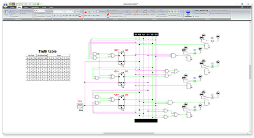 Digital Electronic circuit simulated using Automation Studio software