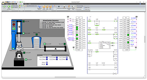 plc controlling a virtual system in Automation Studio software